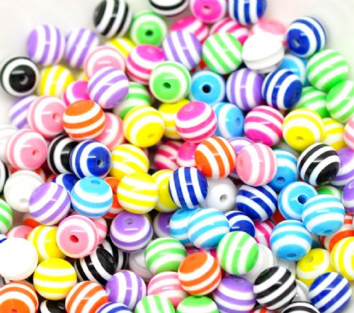 50 Mixed Multicolor Striped Round Resin  Beads 10mm